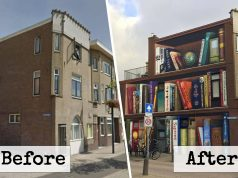 Dutch Artists Paint A Huge Bookcase On An Apartment Building