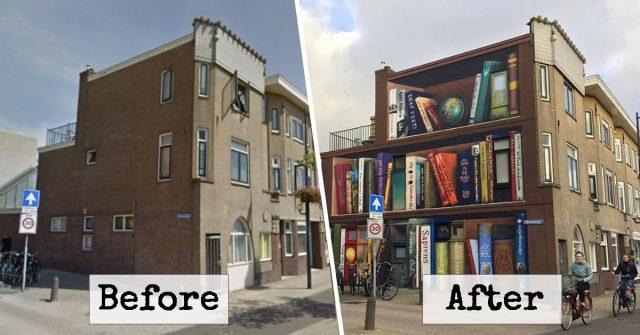 Dutch Artists Paint A Huge Bookcase On An Apartment Building