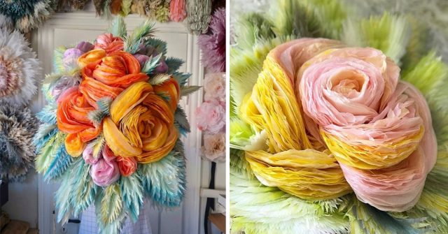 Woman Makes Enormous Paper Bouquets And Proves That Creativity Has No Limits
