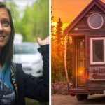 woman lives in a tiny house